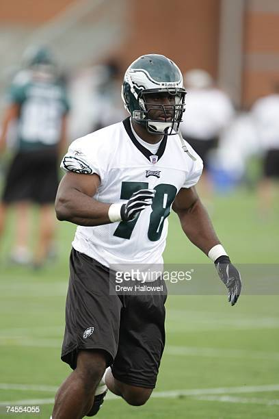 Defensive end Victor Abiamiri of the Philadelphia Eagles fires off the line during minicamp on June 5 2007 at the NovaCare Complex in Philadelphia...