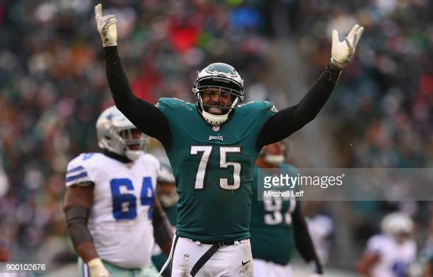 Defensive end Vinny Curry of the Philadelphia Eagles celebrates a holding penalty called against the Dallas Cowboys during the second quarter of the...