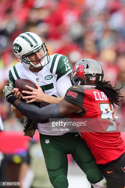 Defensive end Will Clarke of the Tampa Bay Buccaneers sacks quarterback Josh McCown of the New York Jets on November 12 2017 at Raymond James Stadium...