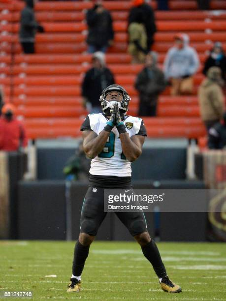 Defensive end Yannick Nakoue of the Jacksonville Jaguars celebrates a fumble recovery for a touchdown in the fourth quarter of a game on November 19...