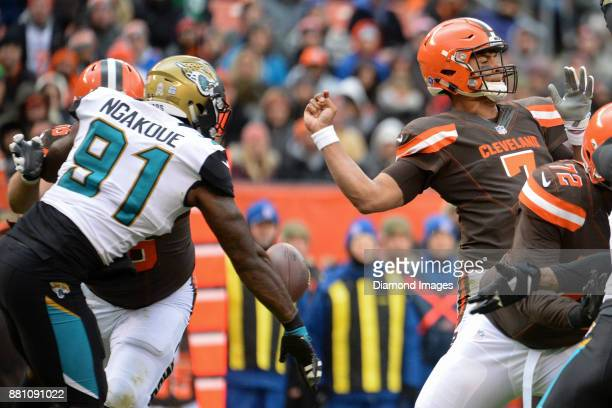 Defensive end Yannick Ngakoue of the Jacksonville Jaguars forces a fumble on quarterback DeShone Kizer of the Cleveland Browns in the first quarter...
