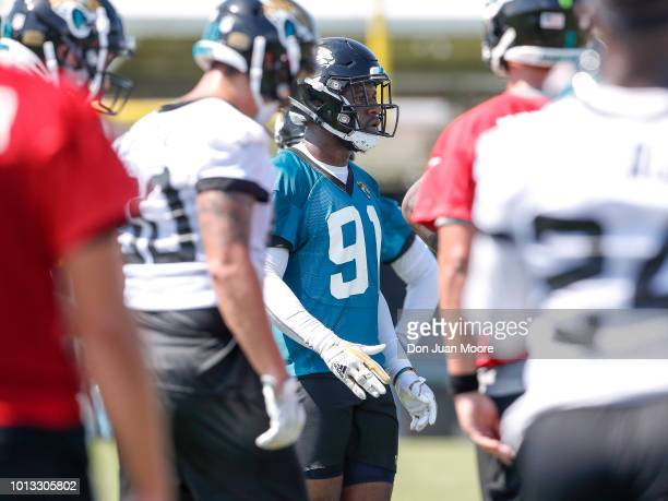 Defensive End Yannick Ngakoue of the Jacksonville Jaguars works out during Training Camp at Dream Finders Homes Practice Complex on July 27 2018 in...