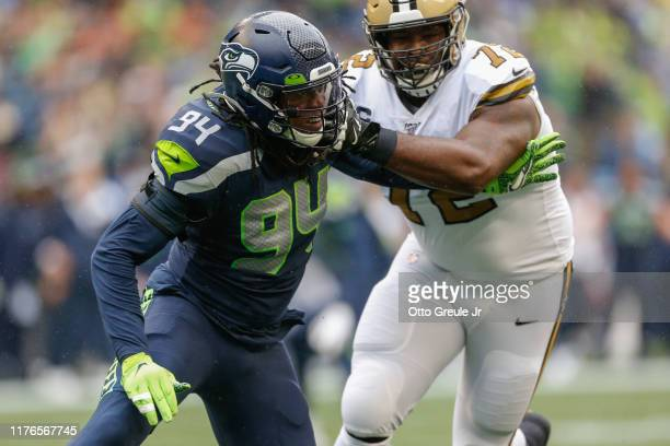Defensive end Ziggy Ansah of the Seattle Seahawks battles Terron Armstead of the New Orleans Saints at CenturyLink Field on September 22 2019 in...