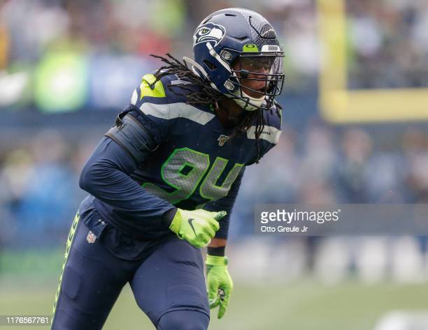 Defensive end Ziggy Ansah of the Seattle Seahawks defends against the New Orleans Saints at CenturyLink Field on September 22 2019 in Seattle...