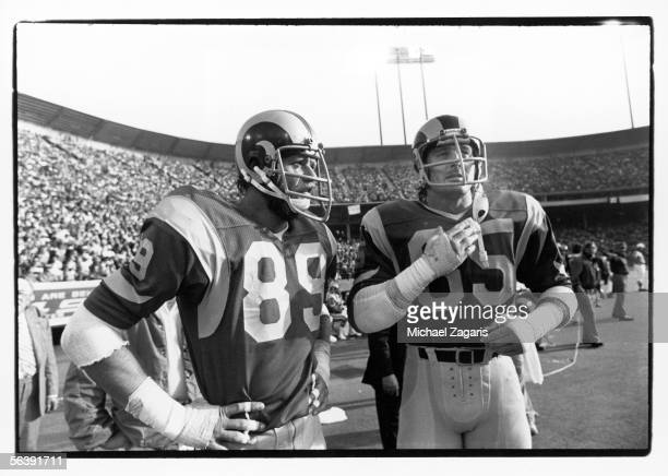 Defensive ends Fred Dryer and Jack Youngblood of the Los Angeles Rams look on against the San Francisco 49ers at Candlestick Park on November 21,...