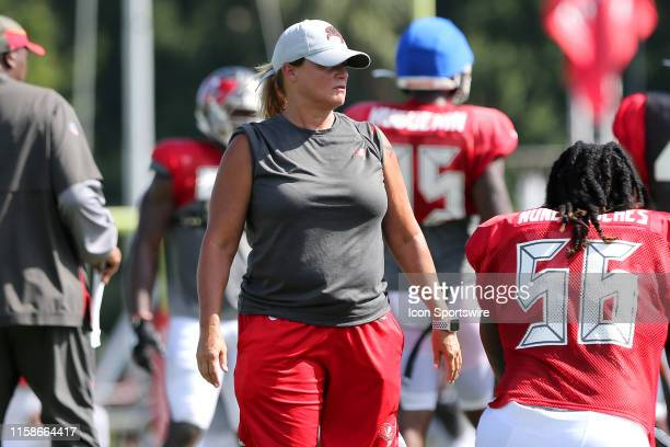 Defensive Line Assistant Coach Lori Locust watches the action during the Tampa Bay Buccaneers Training Camp on July 30 2019 at the AdventHealth...