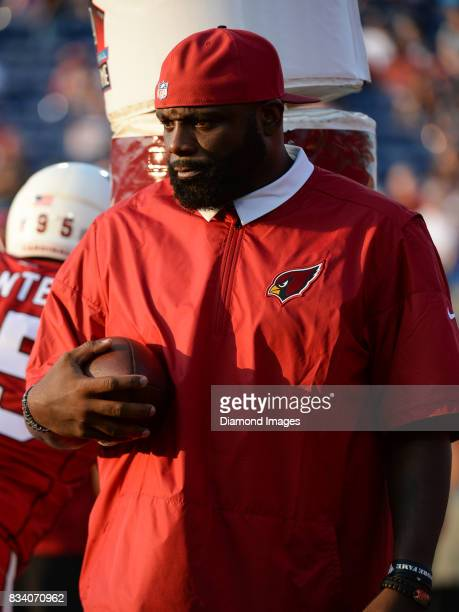 Defensive line coach Brentson Buckner of the Arizona Cardinals directs drills prior to the 2017 Pro Football Hall of Fame Game on August 3 2017...