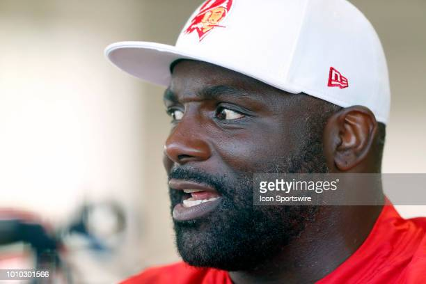 Defensive line coach Brentson Buckner speaks to the media after the Tampa Bay Buccaneers Training Camp on August 02 2018 at One Buccaneer Place in...