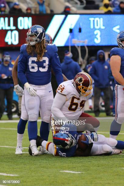 Defensive Lineman AJ Francis of the Washington Redskins in action against the New York Giants at MetLife Stadium on December 31 2017 in East...