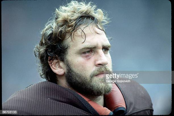 Defensive lineman Bob Golic of the Cleveland Browns on the sideline during a game against the New York Jets at Municipal Stadium on October 14 1984...