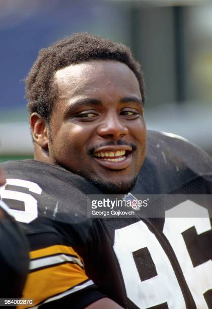 Defensive lineman Brentson Buckner of the Pittsburgh Steelers looks on from the sideline during a game against the Baltimore Ravens at Three Rivers...