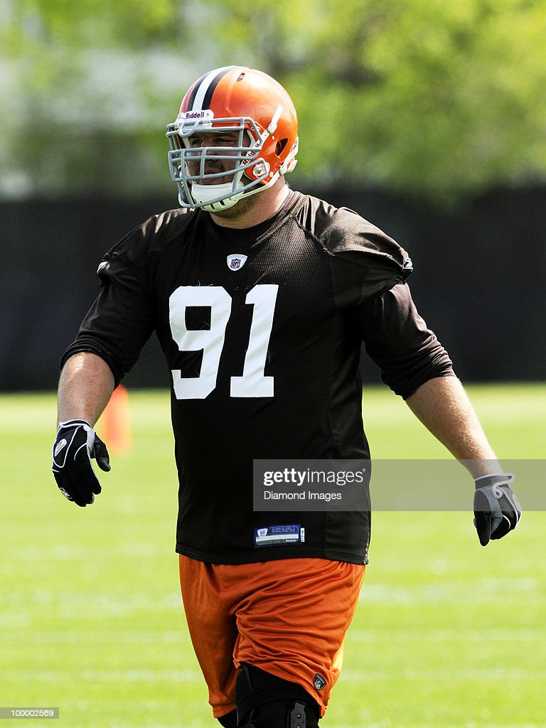 Defensive lineman Brian Schaefering #91 of the Cleveland Browns watches a play during the team's organized team activity (OTA) on May 19, 2010 at the Cleveland Browns practice facility in Berea, Ohio.