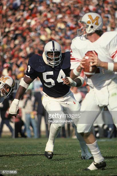 Defensive lineman Bruce Clark of the Penn State University Nittany Lions in action against the University of Maryland at Beaver Stadium on November 4...