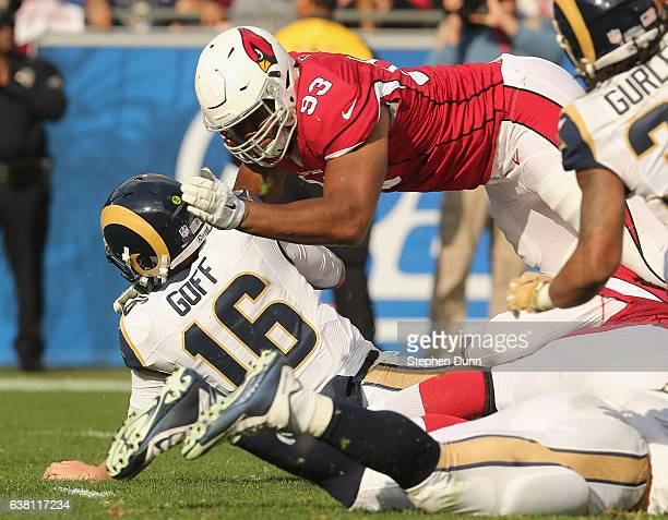 Defensive lineman Calais Campbell of the Arizona Cardinals gets in on a sack of quarterback Jarod Goff of the Los Angeles Rams at Los Angeles...