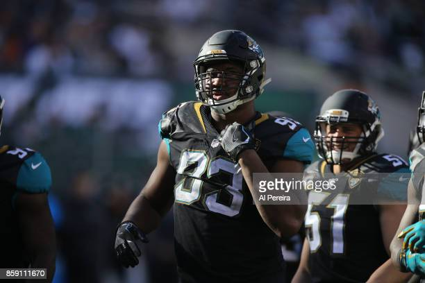 Defensive Lineman Calais Campbell of the Jacksonville Jaguars in action against the New York Jets during their game at MetLife Stadium on October 1...
