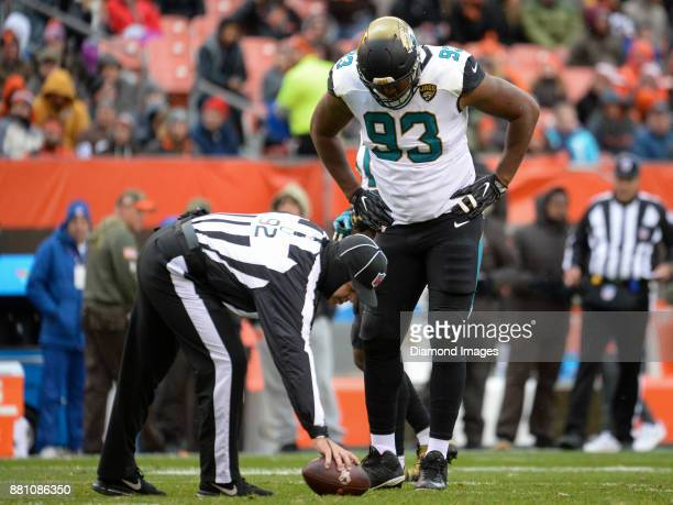 Defensive lineman Calais Campbell of the Jacksonville Jaguars stands over in umpire Brian Neale the first quarter of a game on November 19 2017...