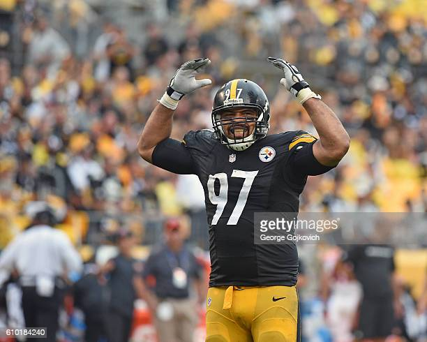 Defensive lineman Cameron Heyward of the Pittsburgh Steelers looks on from the field during a game against the Cincinnati Bengals at Heinz Field on...