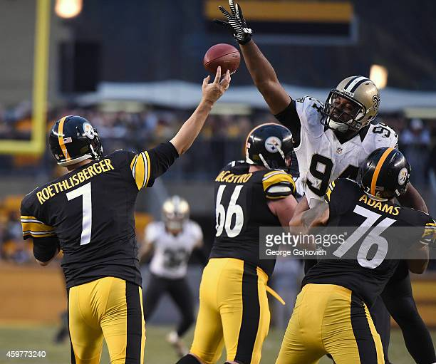 Defensive lineman Cameron Jordan of the New Orleans Saints defends against a pass by quarterback Ben Roethlisberger of the Pittsburgh Steelers as he...