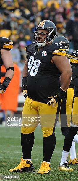 Defensive lineman Casey Hampton of the Pittsburgh Steelers looks on from the field during a game against the Cleveland Browns at Heinz Field on...