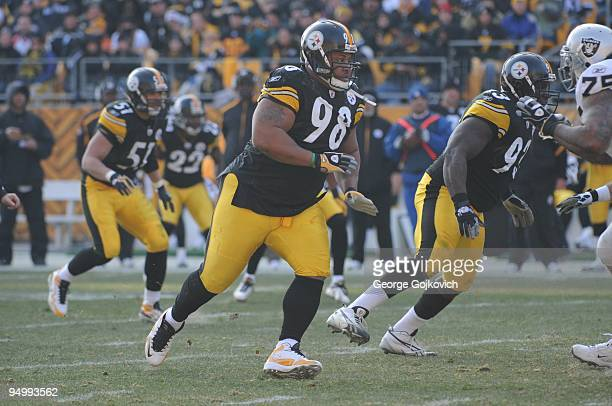Defensive lineman Casey Hampton of the Pittsburgh Steelers pursues the play during a game against the Oakland Raiders at Heinz Field on December 6...