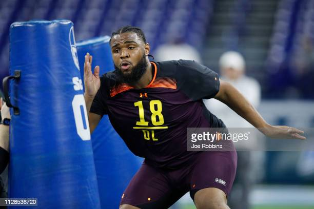 Defensive lineman Christian Wilkins of Clemson works out during day four of the NFL Combine at Lucas Oil Stadium on March 3 2019 in Indianapolis...
