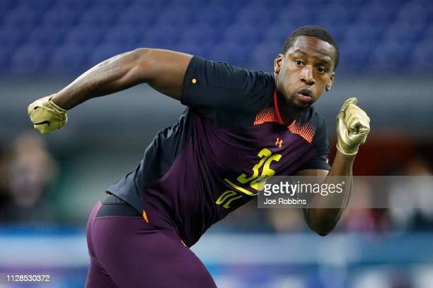 Defensive lineman Clelin Ferrell of Clemson works out during day four of the NFL Combine at Lucas Oil Stadium on March 3 2019 in Indianapolis Indiana