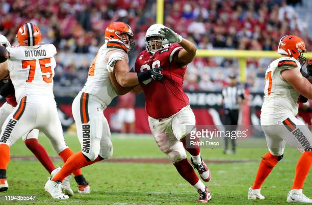 Defensive lineman Corey Peters of the Arizona Cardinals is blocked by center JC Tretter of the Cleveland Browns during the second half of the NFL...