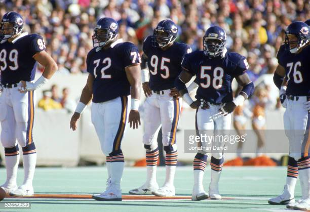 Defensive lineman Dan Hampton William Perry Richard Dent linebacker Wilber Marshall and left tackle Steve McMichael of the Chicago Bears wait to line...