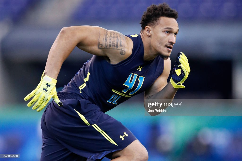 Defensive lineman Derek Rivers of Youngstown State participates in a drill during day five of the NFL Combine at Lucas Oil Stadium on March 5, 2017 in Indianapolis, Indiana.