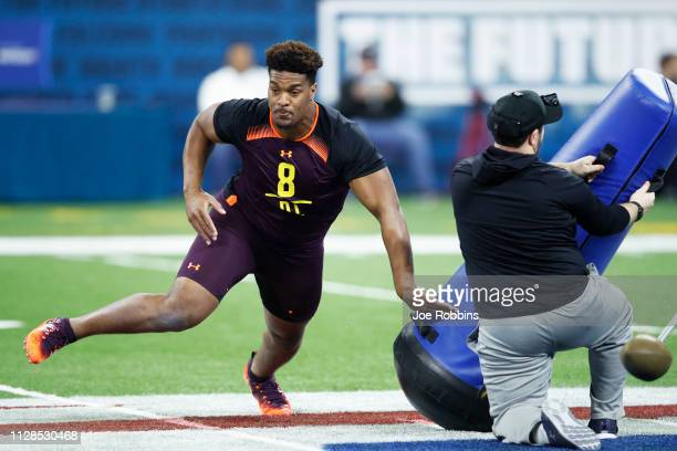 Defensive lineman Dre'mont Jones of Ohio State works out during day four of the NFL Combine at Lucas Oil Stadium on March 3 2019 in Indianapolis...