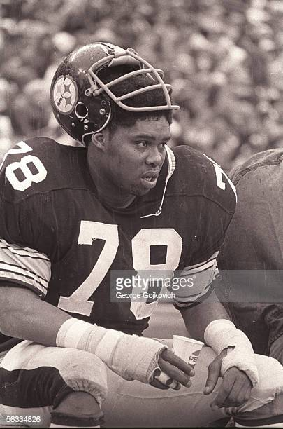 Defensive lineman Dwight White of the Pittsburgh Steelers at Three Rivers Stadium circa 1974 in Pittsburgh Pennsylvania