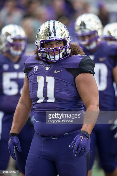 Defensive lineman Elijah Qualls of the Washington Huskies is pictured before a game California at Husky Stadium on September 26 2015 in Seattle...