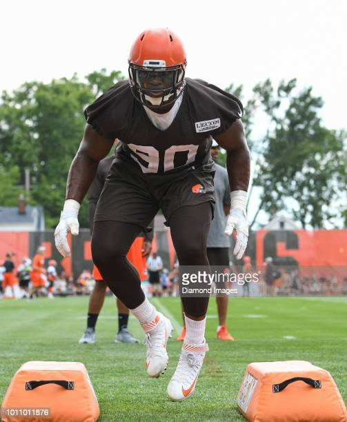 Defensive lineman Emmanuel Ogbah of the Cleveland Browns takes part in a drill during a training camp practice on July 27 2018 at the Cleveland...