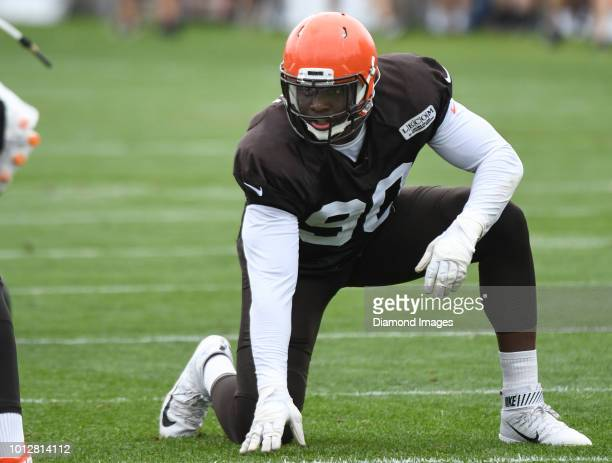 Defensive lineman Emmanuel Ogbah of the Cleveland Browns takes part in a drill during a training camp practice on July 30 2018 at the Cleveland...