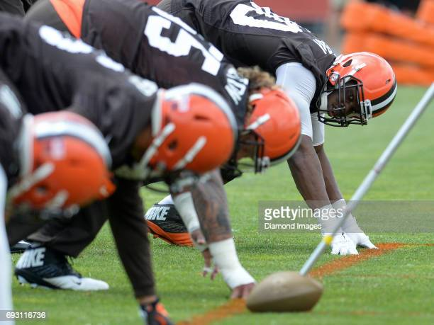 Defensive lineman Emmanuel Ogbah of the Cleveland Browns takes part in a drill during an OTA practice on June 6, 2017 at the Cleveland Browns...