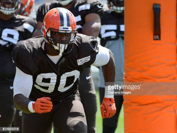 Defensive lineman Emmanuel Ogbah of the Cleveland Browns takes part in a drill during a training camp practice on July 29 2017 at the Cleveland...