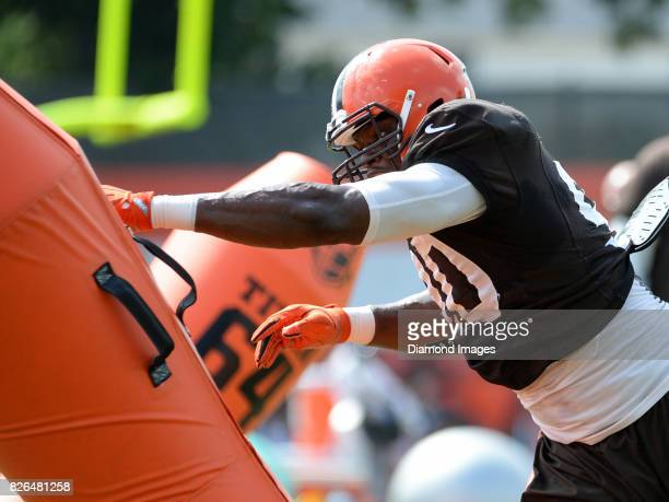 Defensive lineman Emmanuel Ogbah of the Cleveland Browns takes part in a drill during a training camp practice on August 2 2017 at the Cleveland...