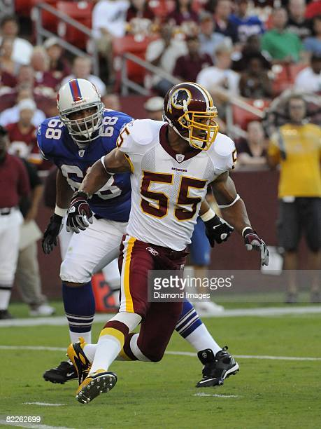 Defensive lineman Jason Taylor of the Washington Redskins pursues the ball carrier during a preseason game on August 9, 2008 against the Buffalo...