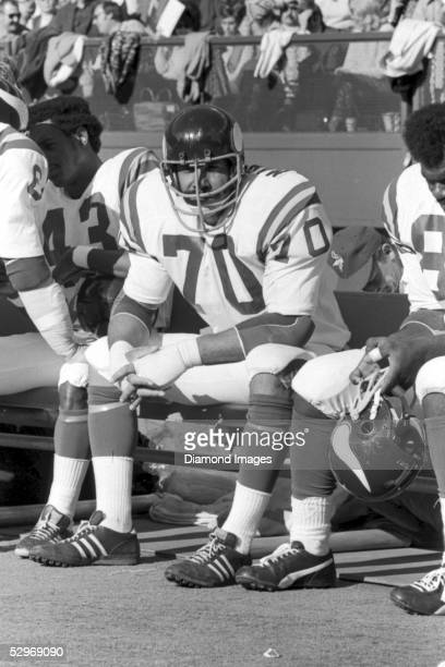 Defensive lineman Jim Marshall of the Minnesota Vikings, on the bench during a game on December 2, 1973 against the Cincinnati Bengals at Riverfront...