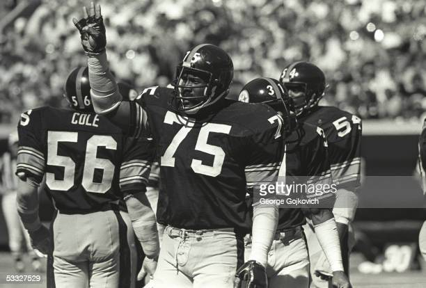 Defensive lineman Joe Greene of the Pittsburgh Steelers gestures to the Steeler bench during a game against the Baltimore Colts at Three Rivers...