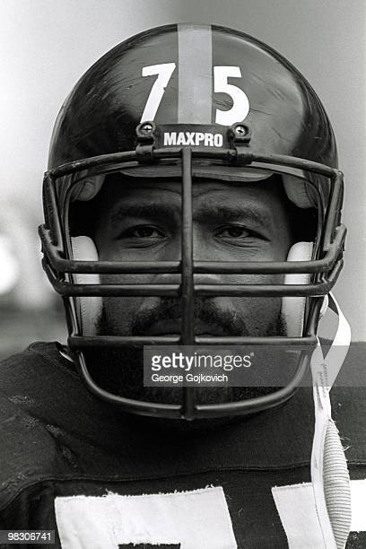 Defensive lineman Joe Greene of the Pittsburgh Steelers looks on from the sideline during a National Football League game against the Los Angeles...