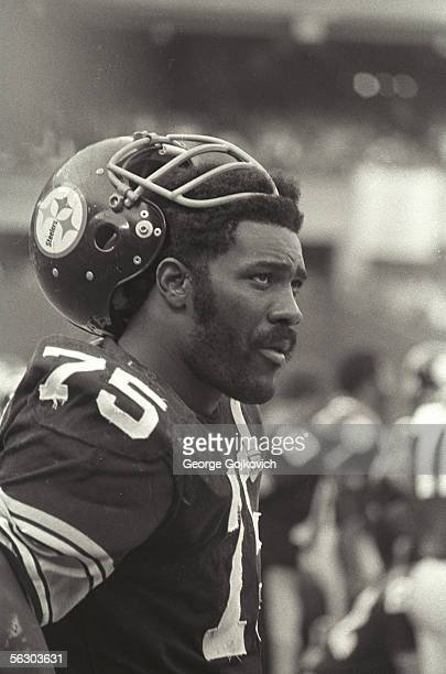 Defensive lineman Joe Greene of the Pittsburgh Steelers on the sideline during a game at Three Rivers Stadium circa 1974 in Pittsburgh Pennsylvania