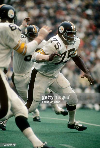 Defensive lineman Joe Greene of the Pittsburgh Steelers pursuing the play against the Chicago Bears September 19 1971 during an NFL football game at...