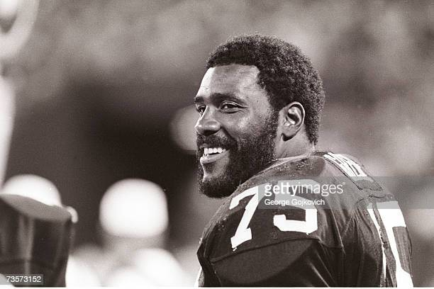 Defensive lineman Joe Greene of the Pittsburgh Steelers smiles while on the sideline during a game at Three Rivers Stadium circa 1979 in Pittsburgh...