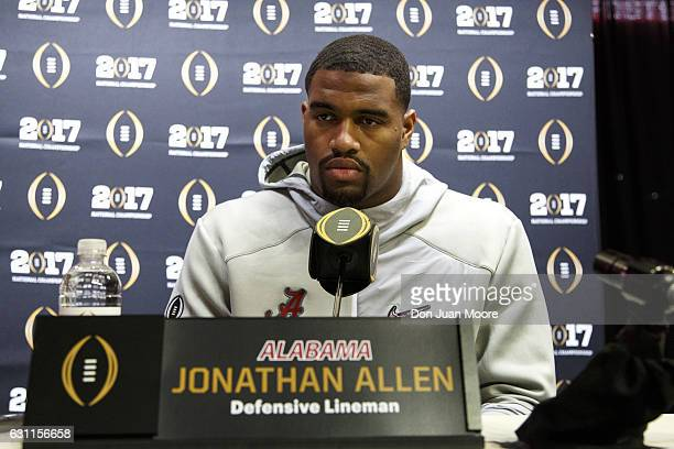 Defensive Lineman Jonathan Allen of the Alabama Crimson Tide addresses the media during Media Day before the College Football Playoff National...