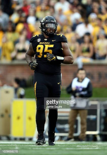 Defensive lineman Jordan Elliott of the Missouri Tigers in action during the game against the Wyoming Cowboys at Faurot Field/Memorial Stadium on...