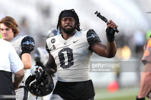 Defensive lineman Kenny Turnier of the Central Florida Knights is seen against Tulane at Bounce House-FBC Mortgage Field on October 24, 2020 in...