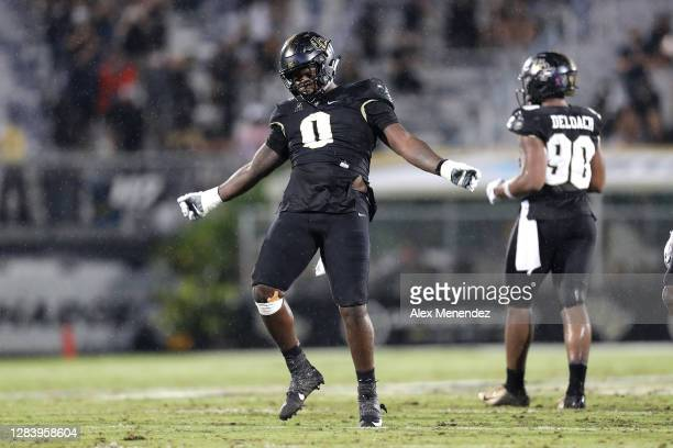 Defensive lineman Kenny Turnier of the Central Florida Knights is seen against Tulsa at Bright House Networks Stadium on October 3 2020 in Orlando...