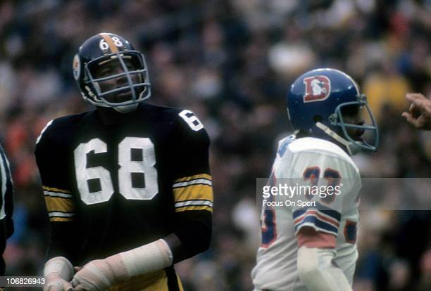 Defensive lineman LC Greenwood of the Pittsburgh Steelers looks on during an NFL football game against the Denver Broncos at Three River Stadium...