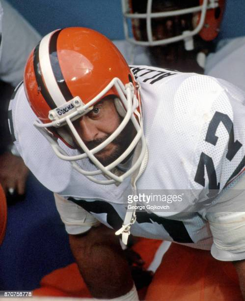 Defensive lineman Lyle Alzado of the Cleveland Browns looks on from the sideline before a preseason game against the Pittsburgh Steelers at Municipal...